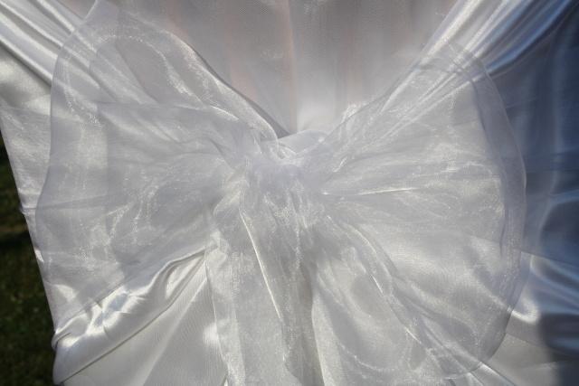 Mašle na svatební potahy, bílá mašle na židle