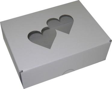 Svatební krabička na výslužku s motivem srdíčka