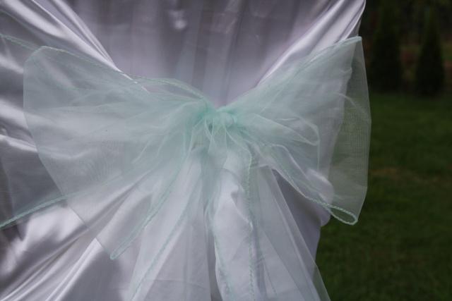 Mašle na svatební potahy, mentolová mašle na židle