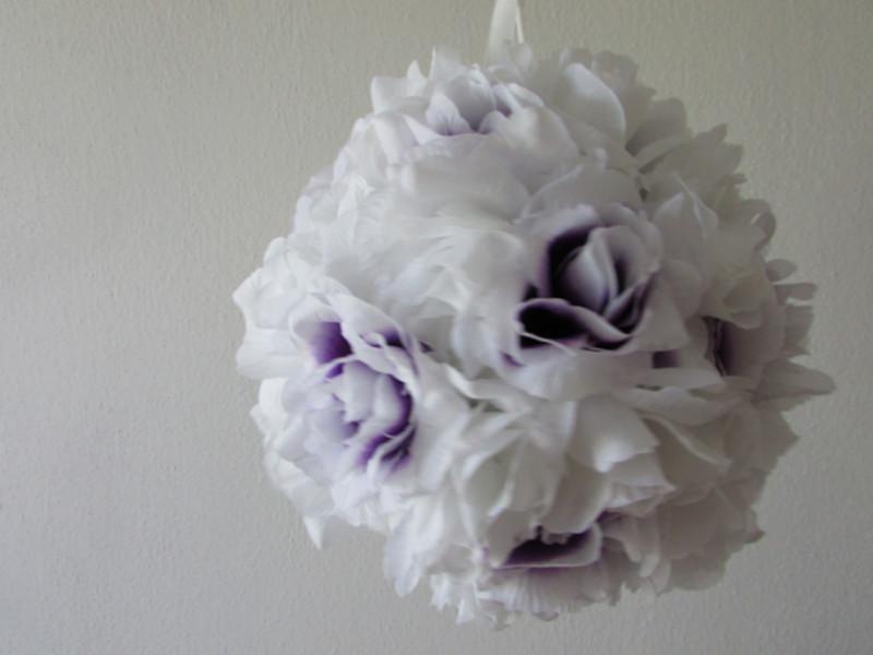 Závěsné dekorace, závěsné koule bílo-fialová