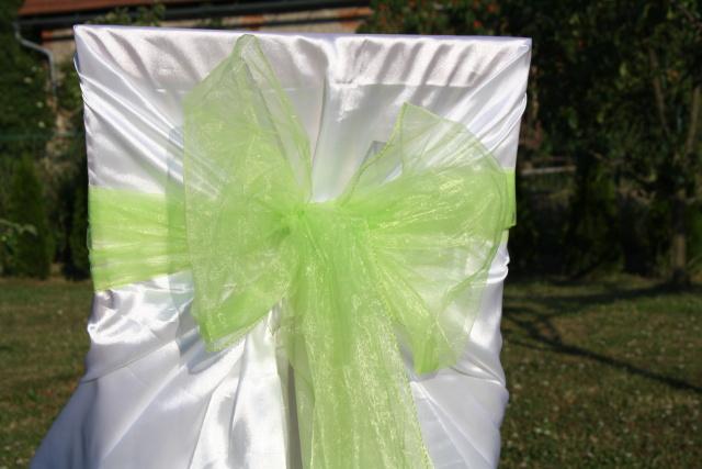 Mašle na svatební potahy, zelená mašle na židle